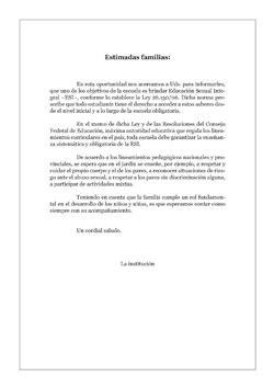 Carta a las Familias · Educación Inicial