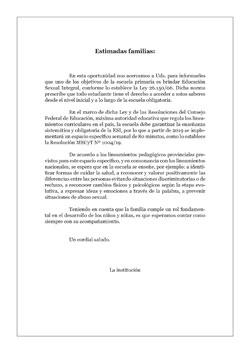 Carta a las Familias · Educación Primaria