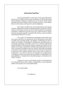 Carta a las Familias · Educación Secundaria