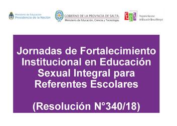 Jornadas de Fortalecimiento Institucional en ESI para Referentes Escolares · Nivel Primario