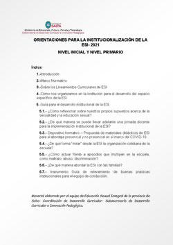 Orientaciones para la institucionalización de la ESI