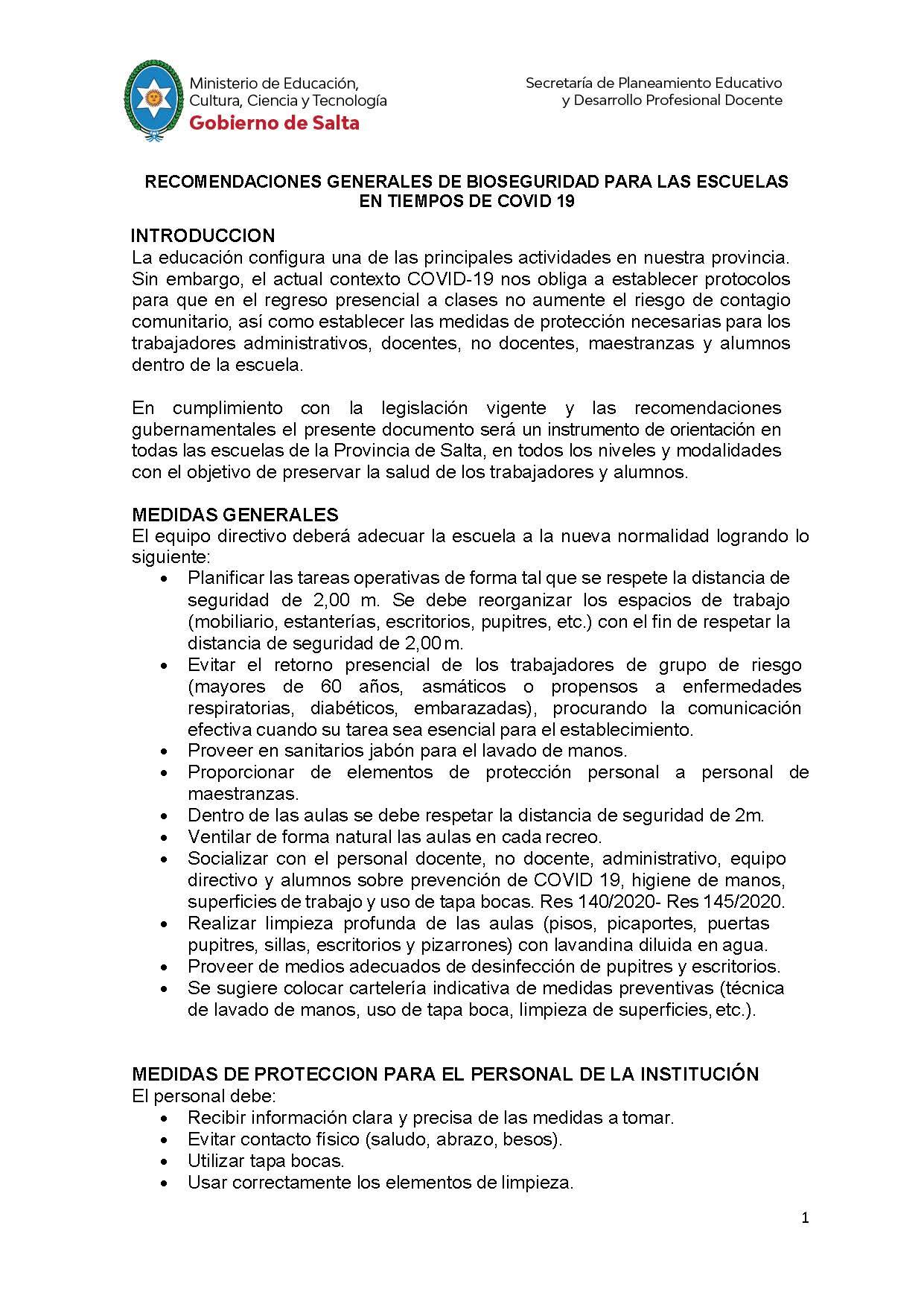 Recomendaciones Generales para las escuelas en tiempos de Covid-19. IFD 6040