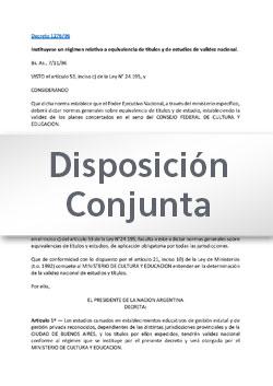 Disposición Conjunta Nº 130-16 DGESup-DGEP