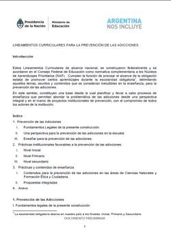 Lineamientos Curriculares para la Prevención de las Adicciones (2015)