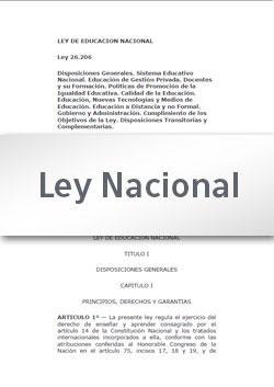 Ley 26206 de Educación Nacional
